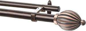 """Deco Window 1 Inch Double Extendable Antique Copper Curtain Rod for Windows & Doors with Kamrakh Finials & Brackets Set - 52"""" to 144"""""""