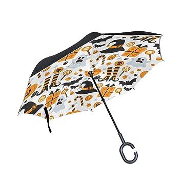 jstel doble capa puede Halloween calabaza fantasma murciélago Candy paraguas coches Reverse resistente al viento lluvia