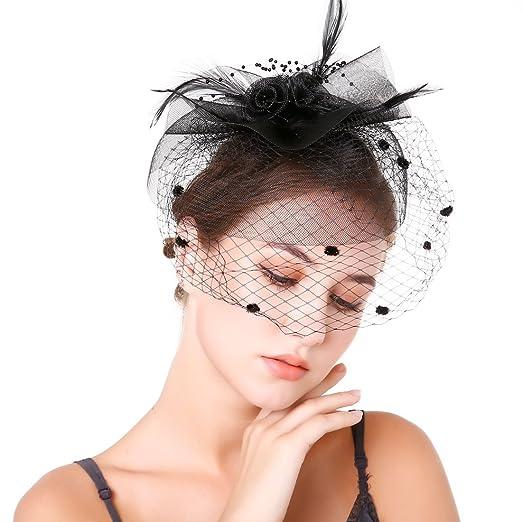 Fascinators Feather Top Hat Headband Clip with Mesh Veil Little ... 635942ddda4
