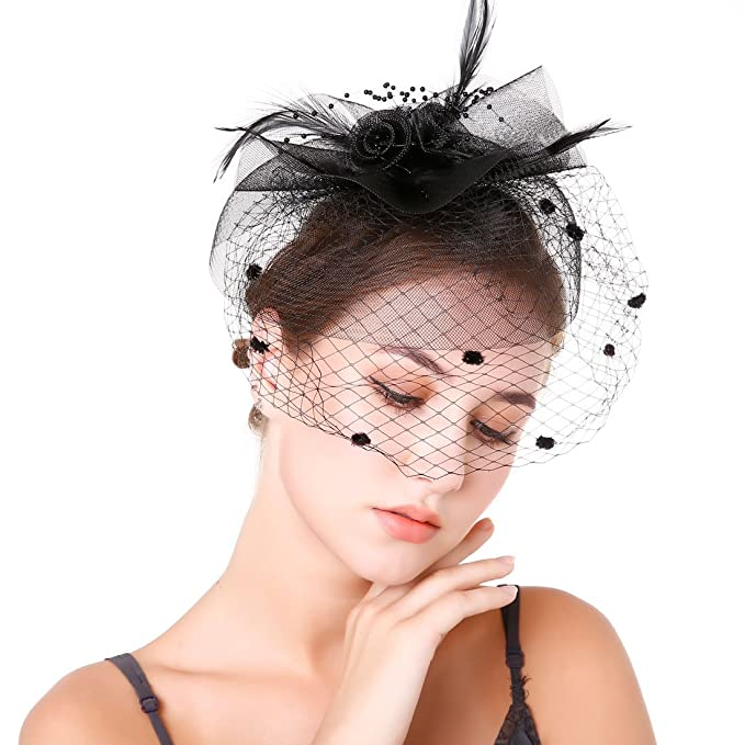 831bf2aaf857b Sunzeus Bridal Wedding Hat Feathers Tulle Flowers Fascinators Women s Party  Hats with Face Veil-Black