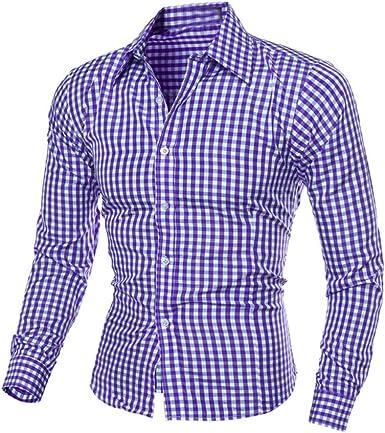 Ularma Camisa de los Hombres, Guinga impresión de Manga Larga Camisa de algodón: Amazon.es: Ropa y accesorios