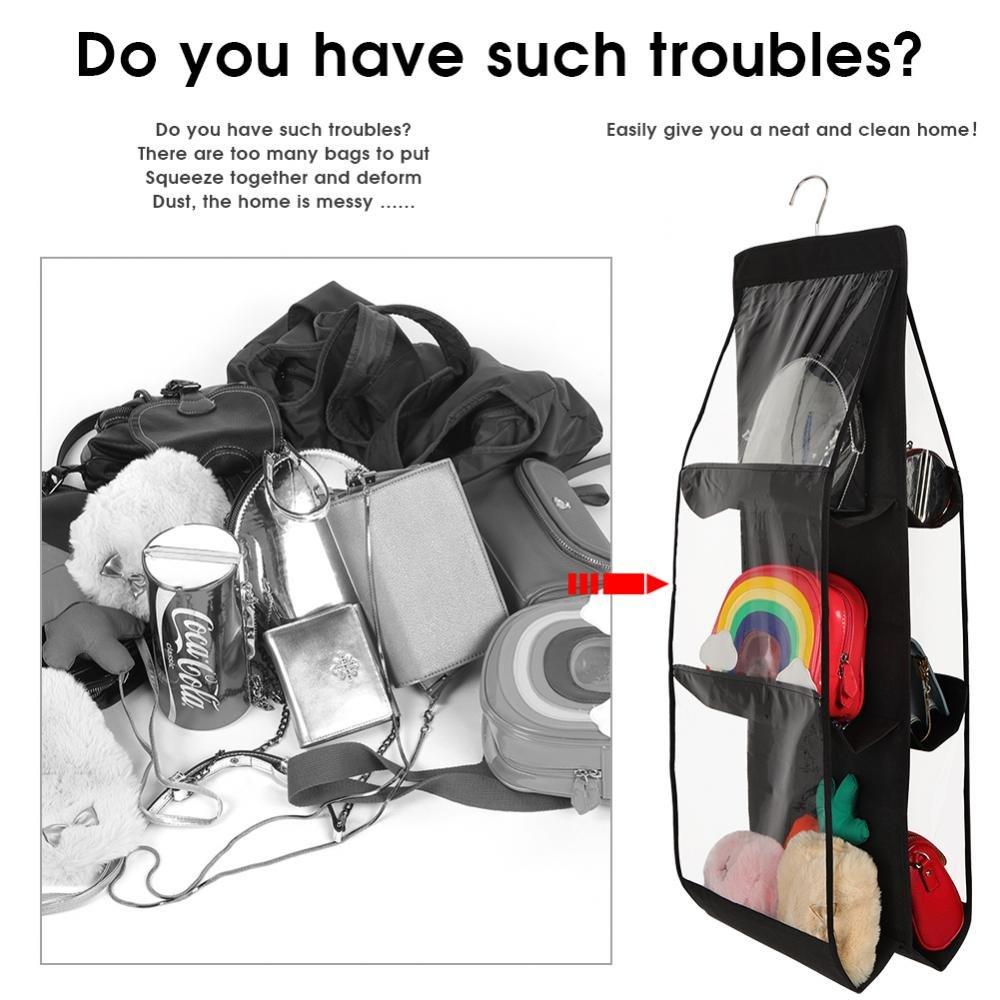 Fdit Aufbewahrungstasche mit 6 F/ächern zum Aufh/ängen von Taschen Socialme-EU grau Aufbewahrungstasche f/ür Kleiderschrank Stoff