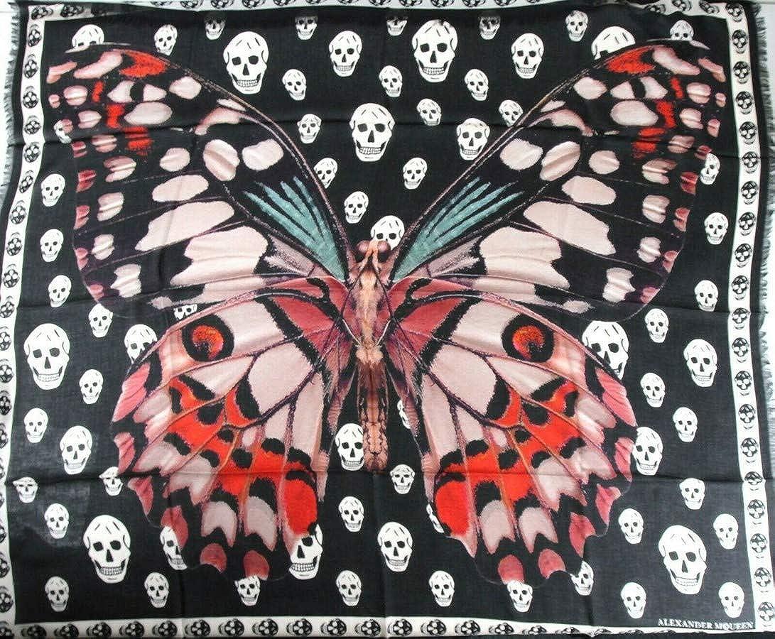 Alexander McQueen Women's Black/Pink Modal Foulard Giant Butterfly Scarf 540540 1072