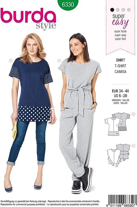 Burda 6330 - Patrón de Costura para Camiseta de Mujer 34 – 46 para Coser uno Mismo, Ideal para Principiantes [L1]