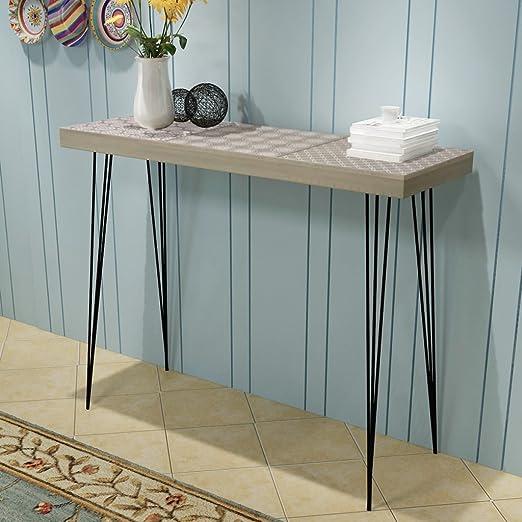 Festnight Mueble de Consola Mesa Materia de MDF + Acero para Salón ...
