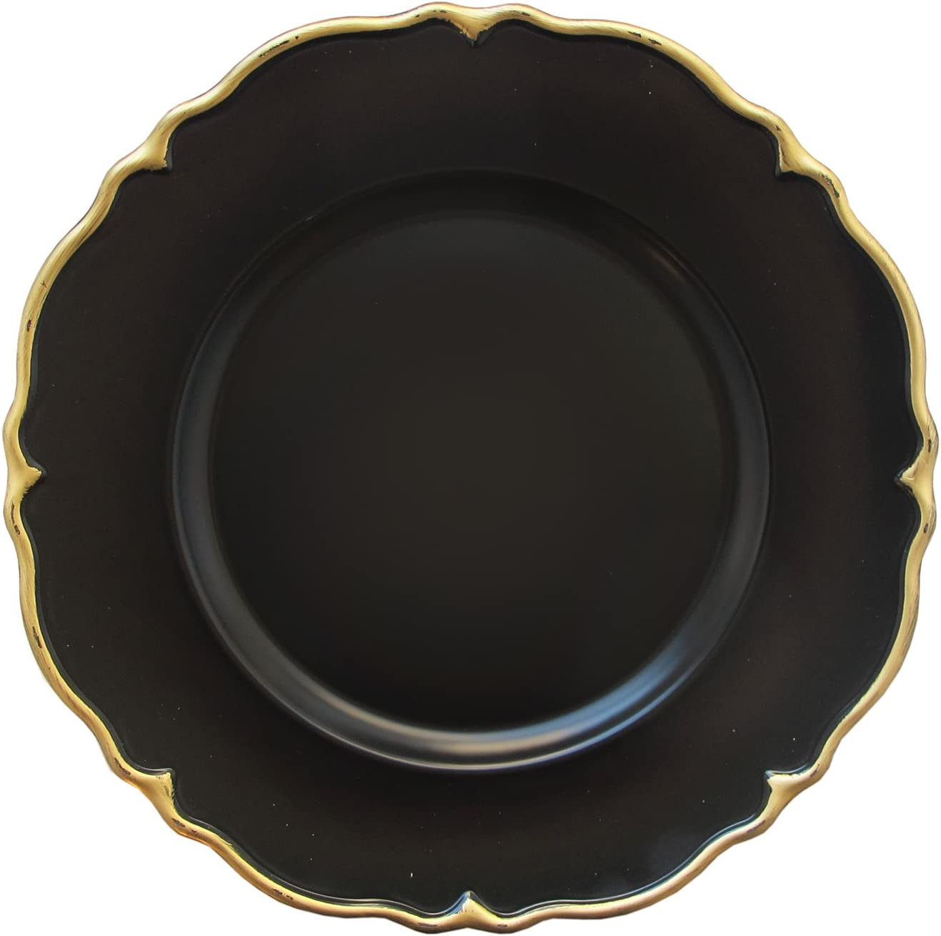 """Elle Decor Scallop Set of 4 Charger Large 13"""" Decorative Melamine Service Plate for Home & Professional Fine Dining-For Catering Events, Dinner Parties, Weddings, Black"""
