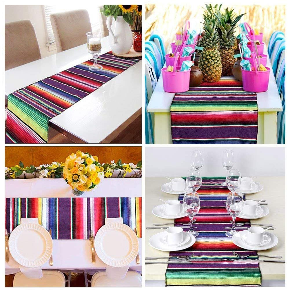 2 Pack Mexican Serape Table Runner 14 x 84 Inch for Mexican Party Wedding Decorations Outdoor Picnics Dining Table, Fringe Cotton Handwoven Table Runners by Focushow (Image #6)