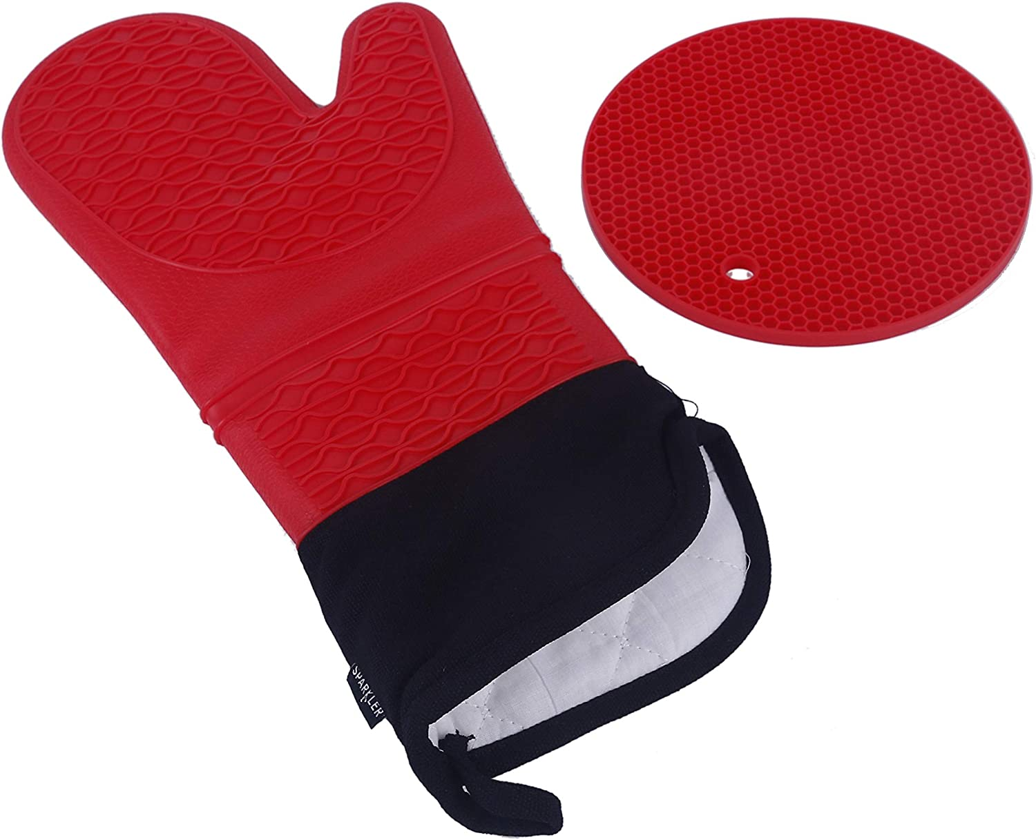 Sparkler Silicone Oven Mitts and Pot Holders-2 Piece Set-15.5-Inch Long Professional Oven Mitt & Pot Holder-Thicker 1/4-Inch Quilted Liner Infill-Kitchen Cooking Gloves Heat Resistant 480 Degrees F