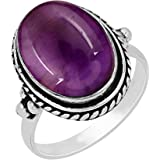 Natural Amethyst Moonstone Rose Quartz Ring 12x16mm Oval Shape Gemstone 925 Silver Overlay Handmade Solitaire Rings