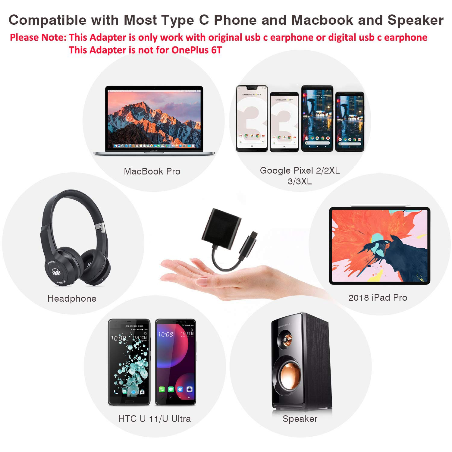 USB C Splitter, HiMusic 2 in 1 USB Type C Male to USB C Audio&Charging  Converter Adapter and Stereo USB C Earphone Dongle Compatible with Google  Pixel