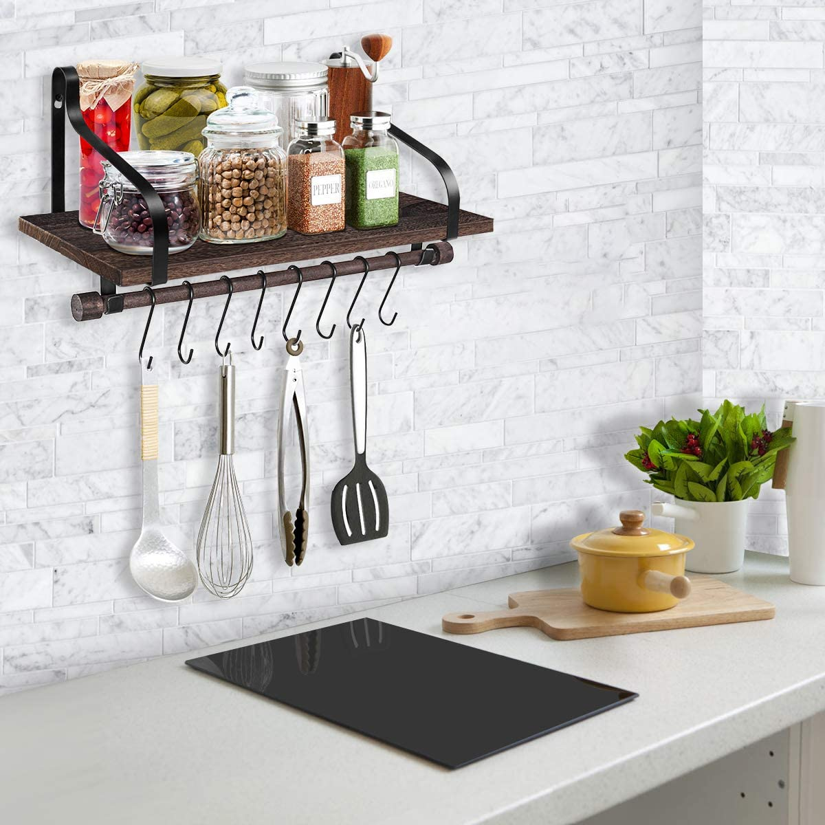 Rustic Wood Floating Shelves for Wall with Hooks Bathroom Kitchen Storage Small Shelf