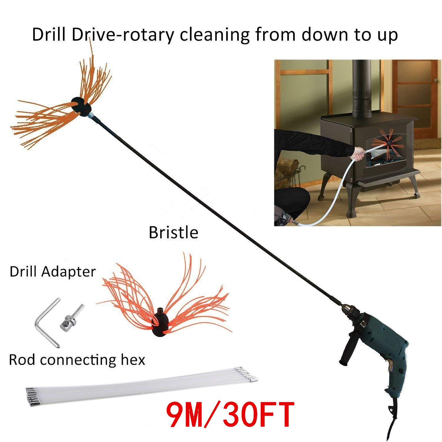 Blackpoolal 9M/30FT Professional Chimney Pipe Sweep Cleaning Sweeping Tool Kits Drill Powered Rotary Chimney Brush DIY Set with with Nylon Flexible Rods