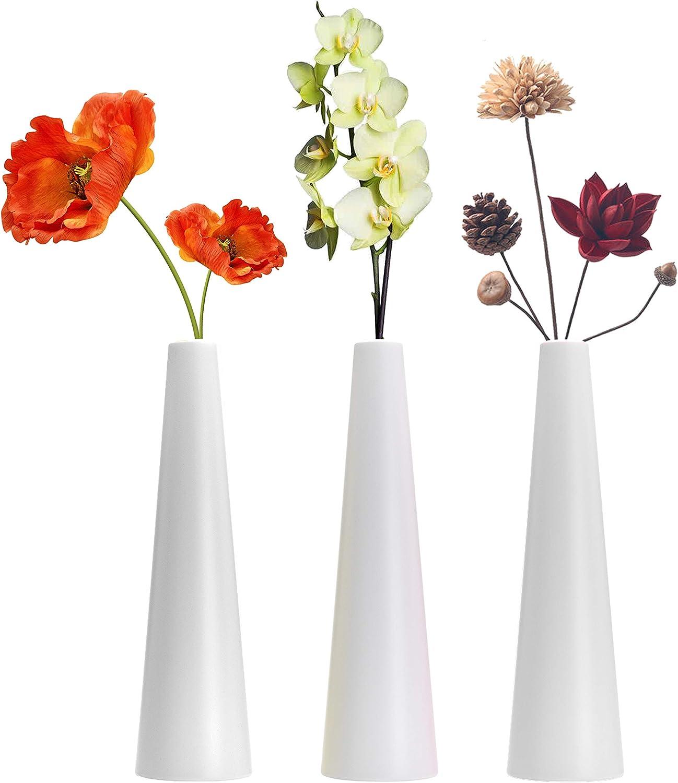 Tall Conic Composite Plastics Flower Vase, Small Bud Decorative Floral Vase Home Decor Centerpieces, Arranging Bouquets, Connected Tubes (White)
