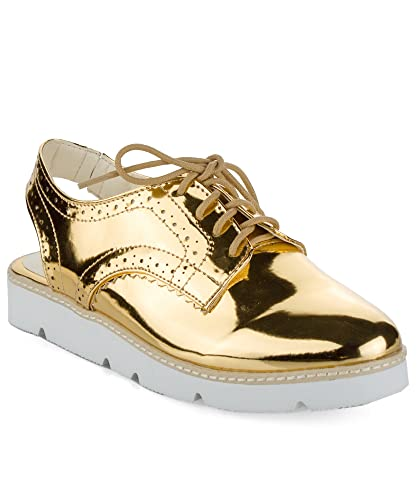 0b9a0ae4c14 ROF Women s Metallic Sling Back Lug Sole Platform Sandal Oxford Flats GOLD  ...