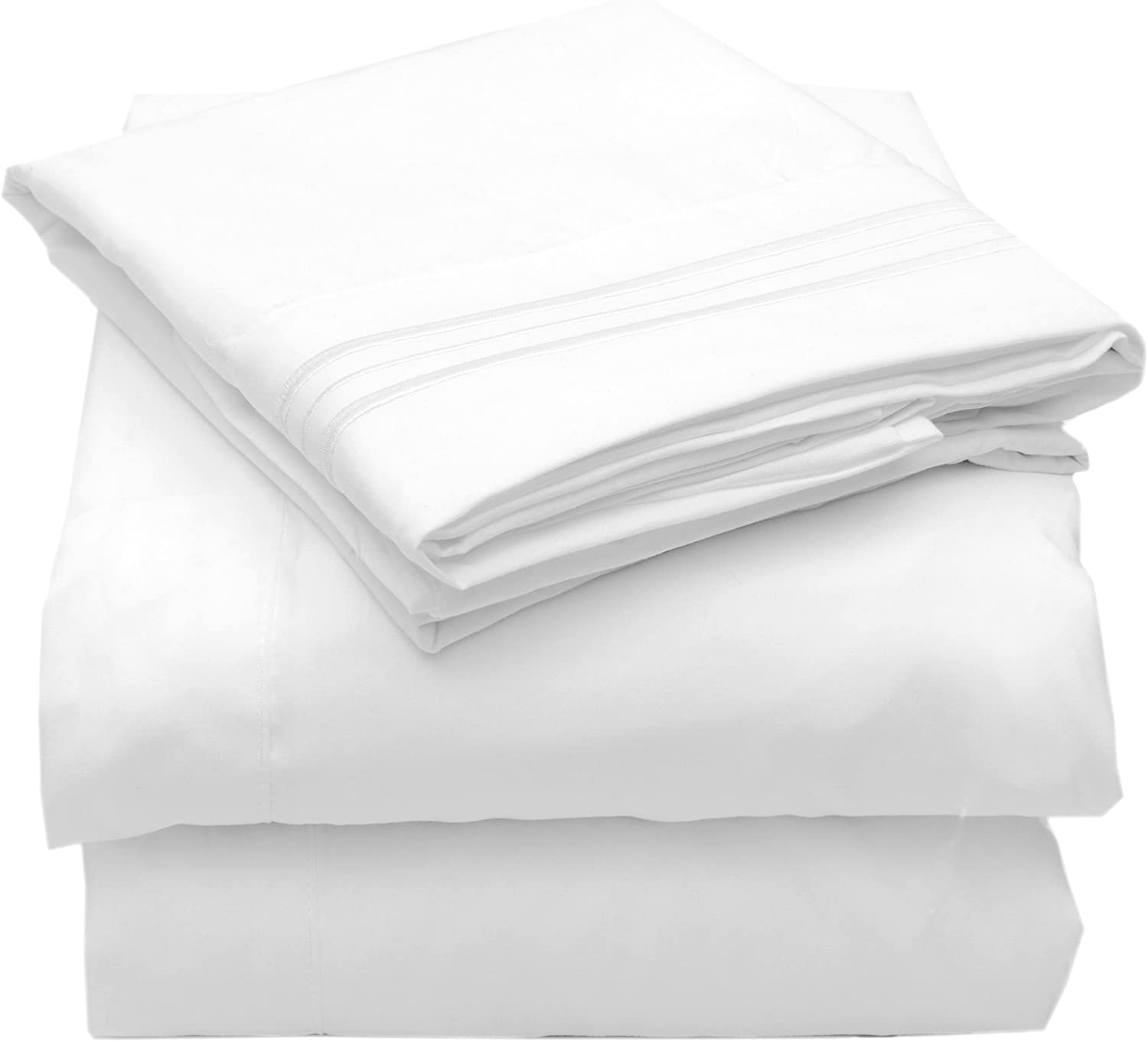 Sweet Home Collection 4 Piece 2000 12 Colors Collection Egyptian Quality Deep Pocket Bed Sheet Set, California King, White
