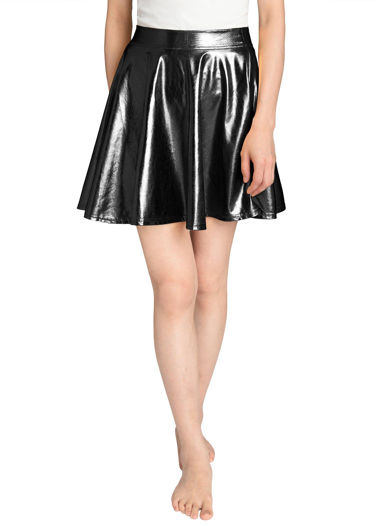 JustinCostume Women's Metallic Skirt Flared Shiny Skirt S Black