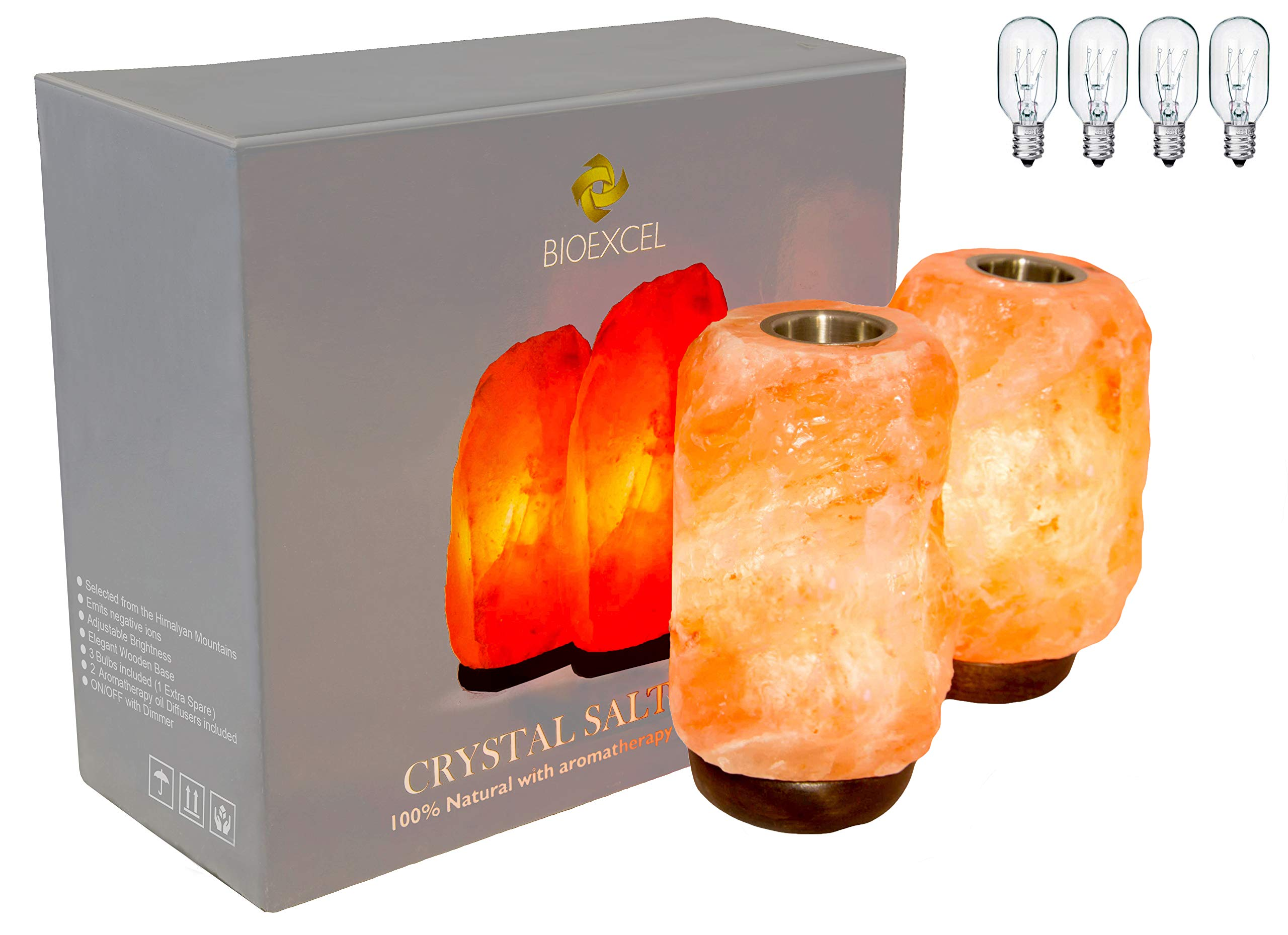 Bioexcel Pack of 2 Aroma Himalayan Salt Lamp With Dimmer & Small Plate To Diffuse Essential Oils – Salt Lamp Night Light Aromatherapy - Wood Base Hand Carved | 5-7 lbs - 4 Bulbs 25 Watts