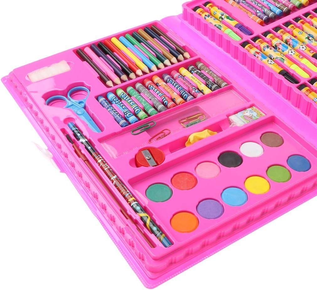 F fityle Pinturas Niños Malset con muchos lápices, rotuladores, ceras, tusch Buzón y accesorios en caja de plástico, color Rose - 86pcs: Amazon.es: Oficina y papelería
