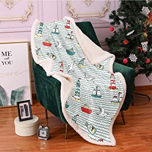 Lighthouse Fleece Throw Blanket,Seagulls Lighthouses Message Bottles Steamboats Sailboats Wavy Pattern Nautical Blanket Small Quilt,for Couch Blankets(40in x 50in,Multicolor)