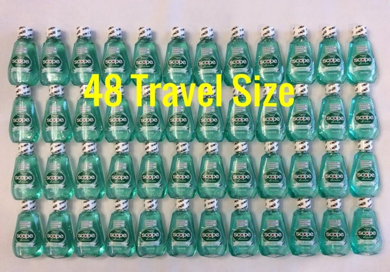 Scope Travel Size Mouthwash Classic Original Mint 1.2 Oz 48 Pack