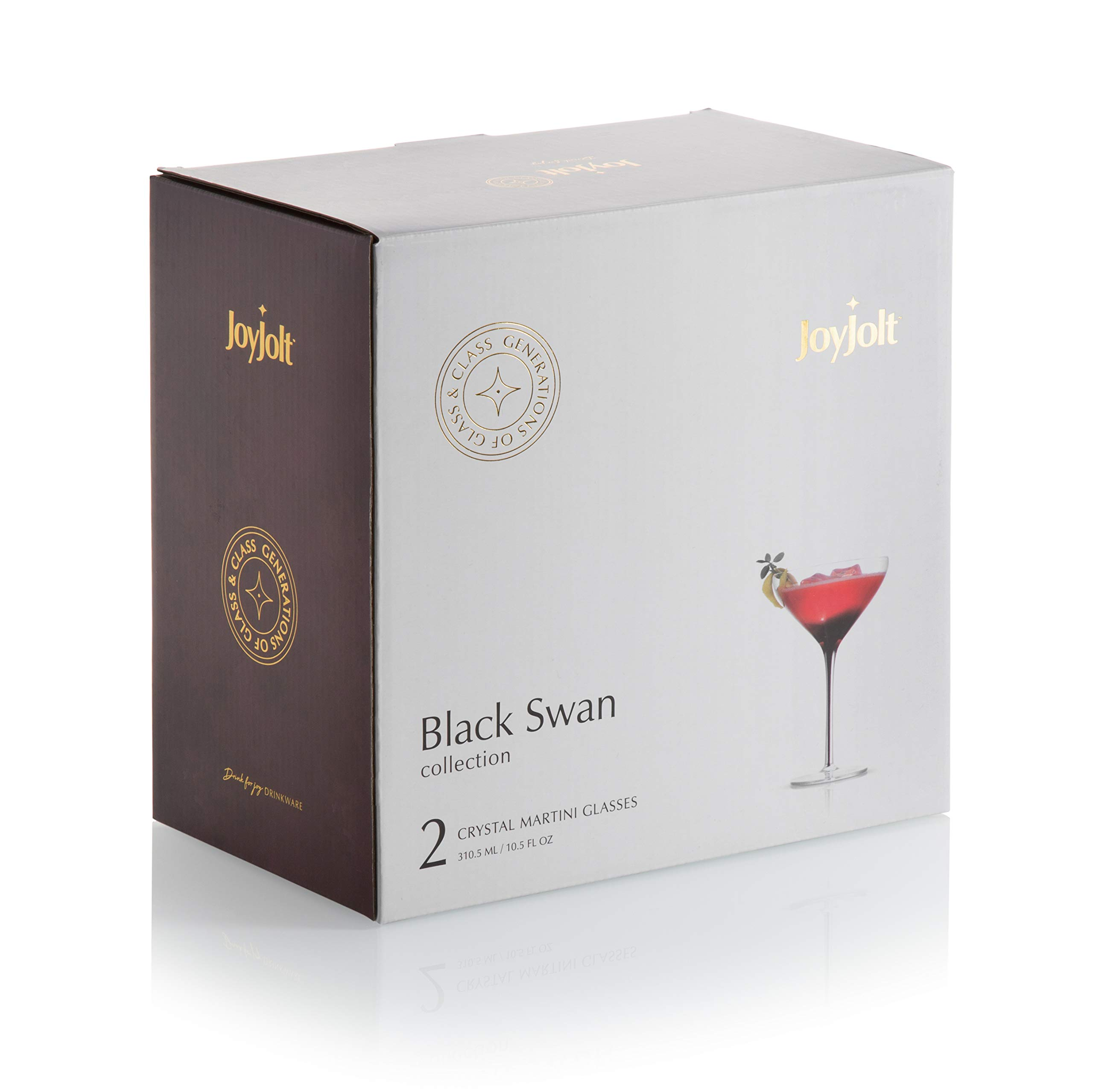 JoyJolt Black Swan Stemmed Martini Glasses, Premium Lead Free Crystal Glassware, 10.5 Oz Capacity, Set Of 2 by JoyJolt (Image #4)