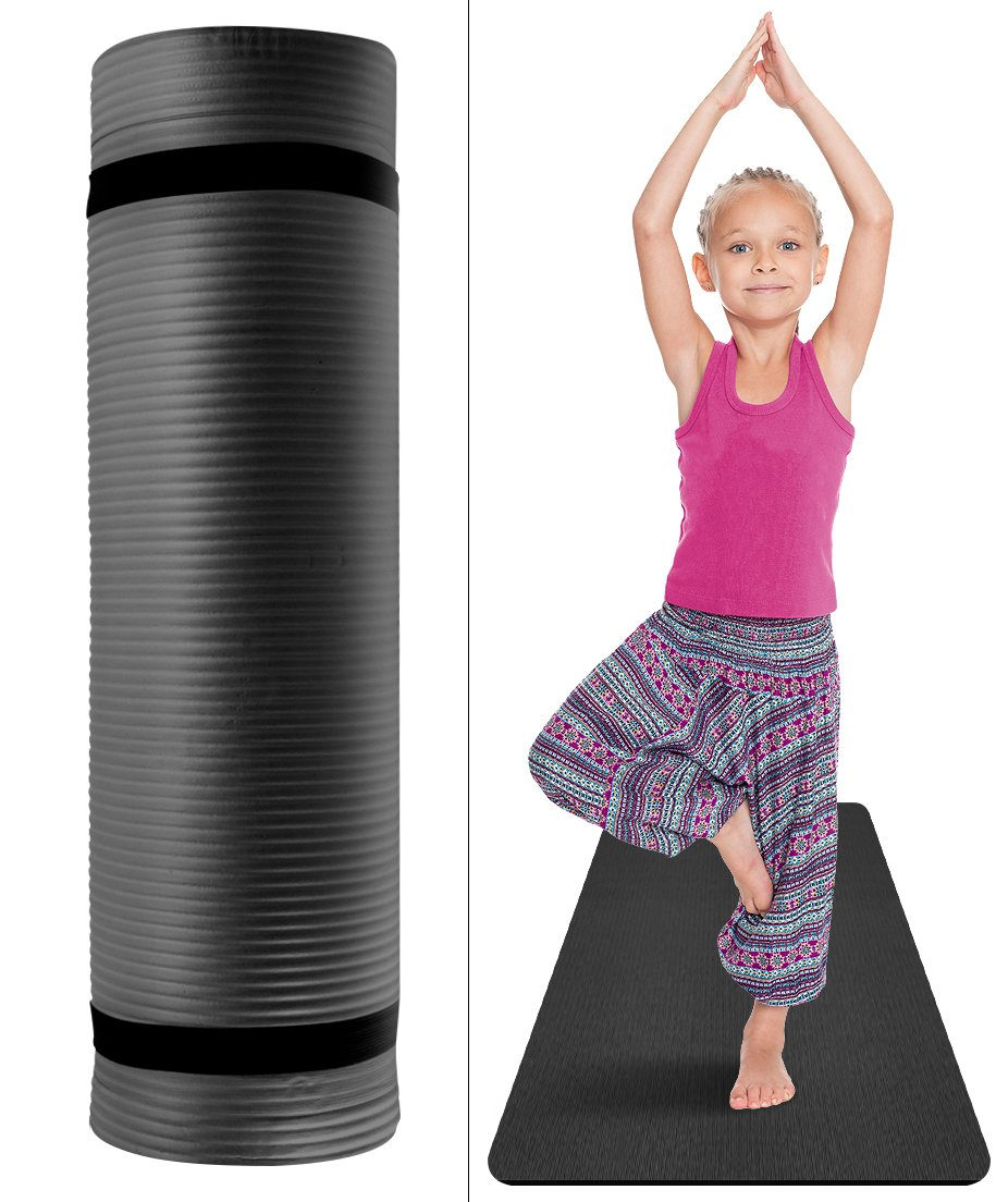 Sivan Health and Fitness Kids Exercise Yoga Mat with Carry Strap - for, Yoga & Pilates, Great for Kid Athletes, Dancers, Gymnasts, Tummy Time etc, 1/2-Inch Extra Thick, NBR Comfort Foam (Black)