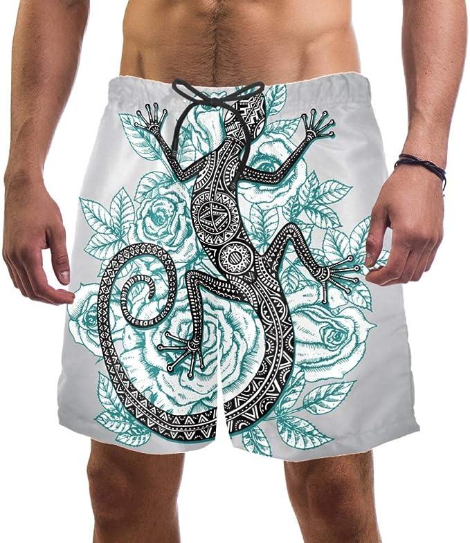 LORVIES - Bañador para hombre, diseño de lagarto salamandra con flores de fondo de playa, secado rápido, talla L