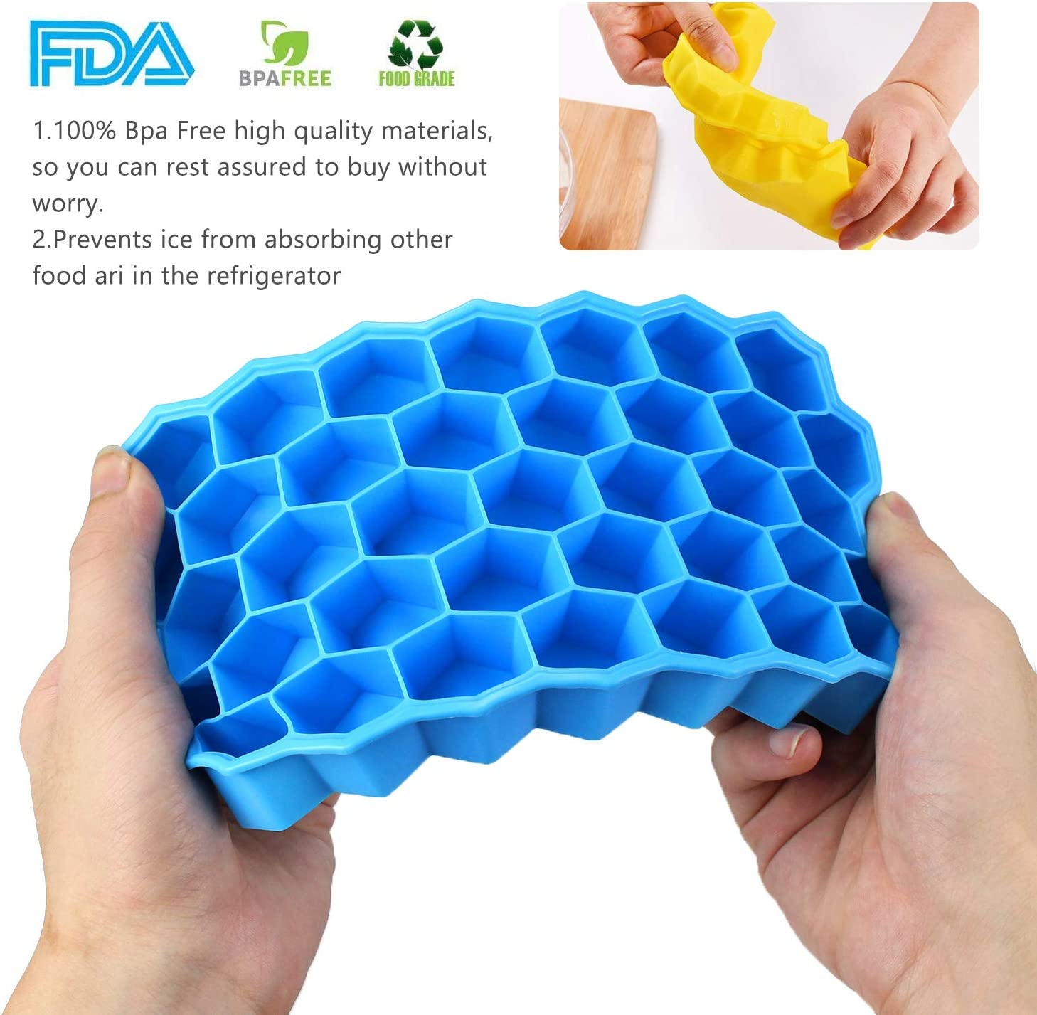2 Pcs Ice Cube Mould with 37 Ice Cubes Molds and Lid Penobon Silicone Ice Cube Tray 2+1 Pack Blue+Green+Coffee 1 Pc 160 Mini Small Ice Cube Tray