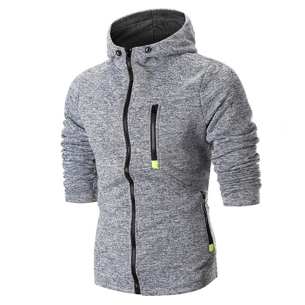 Men's Long Sleeve Solid Hoodie Hooded Sweatshirt Top Tee Outwear Blouse,PASATO Classic Clothes(Gray, XXXL)