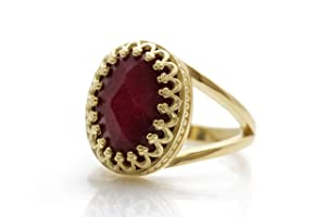 Anemone Jewelry Stunning Birthstone Ring - 6CT Ruby in 14k Gold-filled Ring Band - Handcrafted July Birthstone Jewelry for All Occasions - Artisanal Ruby Ring Sizes 3-12.5 - Free Jewelry Box