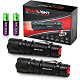 GearLight M3 LED Tactical Flashlight [2 PACK] with Belt Clip, Batteries Included - Zoomable, 3 Modes, Water Resistant, Small Mini Light - Best Everyday Carry Flashlights