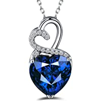 Caperci Sterling Silver Gemstone Heart Pendant Necklace