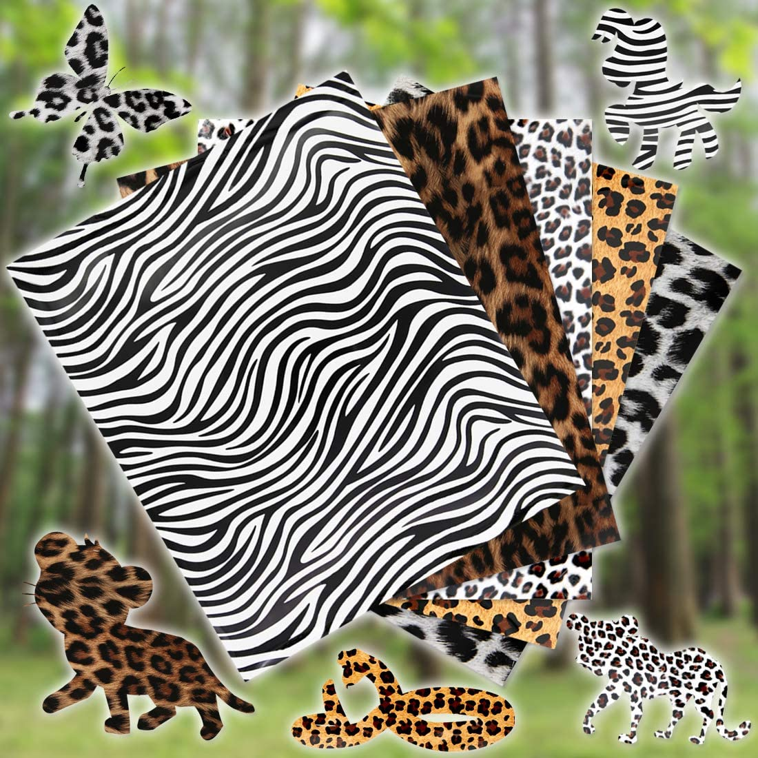 10 PCS Animal Patterned Heat Transfer Vinyl 12 x 10 inches Leopard Print HTV Sheets for T-Shirt Sewing Decoration and DIY Craft Material
