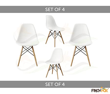 Style Modern Dining Armless Side Chairs Molded ABS Plastic with Wood & Black Accents Iconic American Mid-Century Styling (White) (Set of 4) Colour by Finch Fox