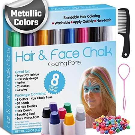 Amazon Com Hair And Face Chalk Pens 8 Metallic Colors Safe For Hair And Skin Add Flair Of Colorful Streaks To Your Hair Metallic Beauty