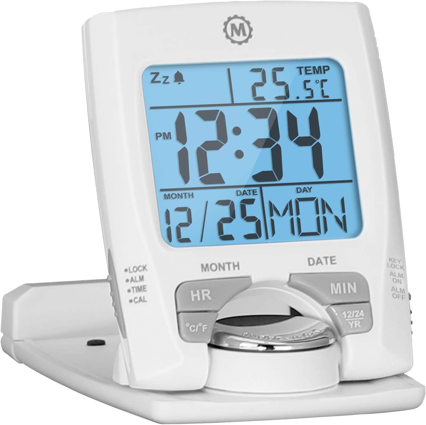Marathon - Reloj despertador de viaje con calendario y temperatura, funciona como soporte para teléfono, batería incluida