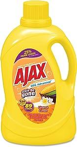 Ajax Stain Be Gone Laundry Detergent, Lemon and Linen Scent, 134 oz Bottle, 4/Carton
