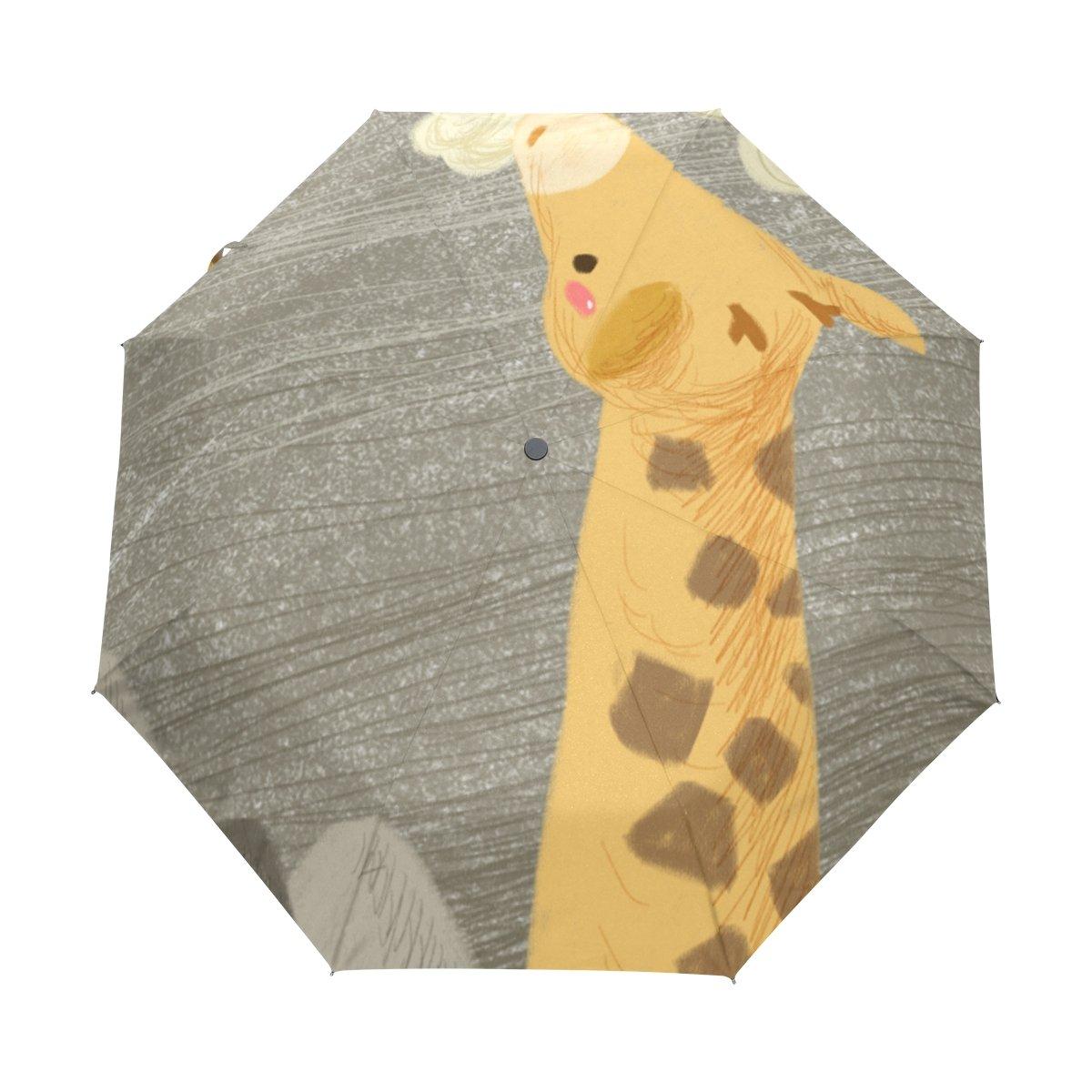 Senya Saobao防風と防雨トラベル傘ポータブル折りたたみ式で自動開いて閉じFoldingキリンClouds Sun Rain傘 B07FFQL4JC