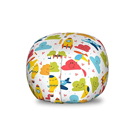 Admirable Amazon Com Ambesonne Doodle Storage Toy Bag Chair Cartoon Frankydiablos Diy Chair Ideas Frankydiabloscom