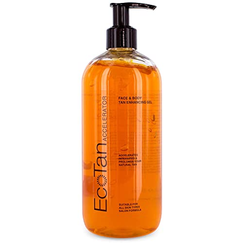 EcoTan Accelerator Face and Body Tanning Gel, Optimises Natural Tan, For Outdoor and Indoor Tanning, Can Be Used With Sunbeds 500ml