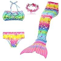DAXIANG 3 Pièces Maillot de Bain Princesse Queue de Sirène Mermaid Bikini(Il y a la Boucle au Bas de la Queue,Pouvez Ouvrir Marcher Fermer Ajouter Monopalme)