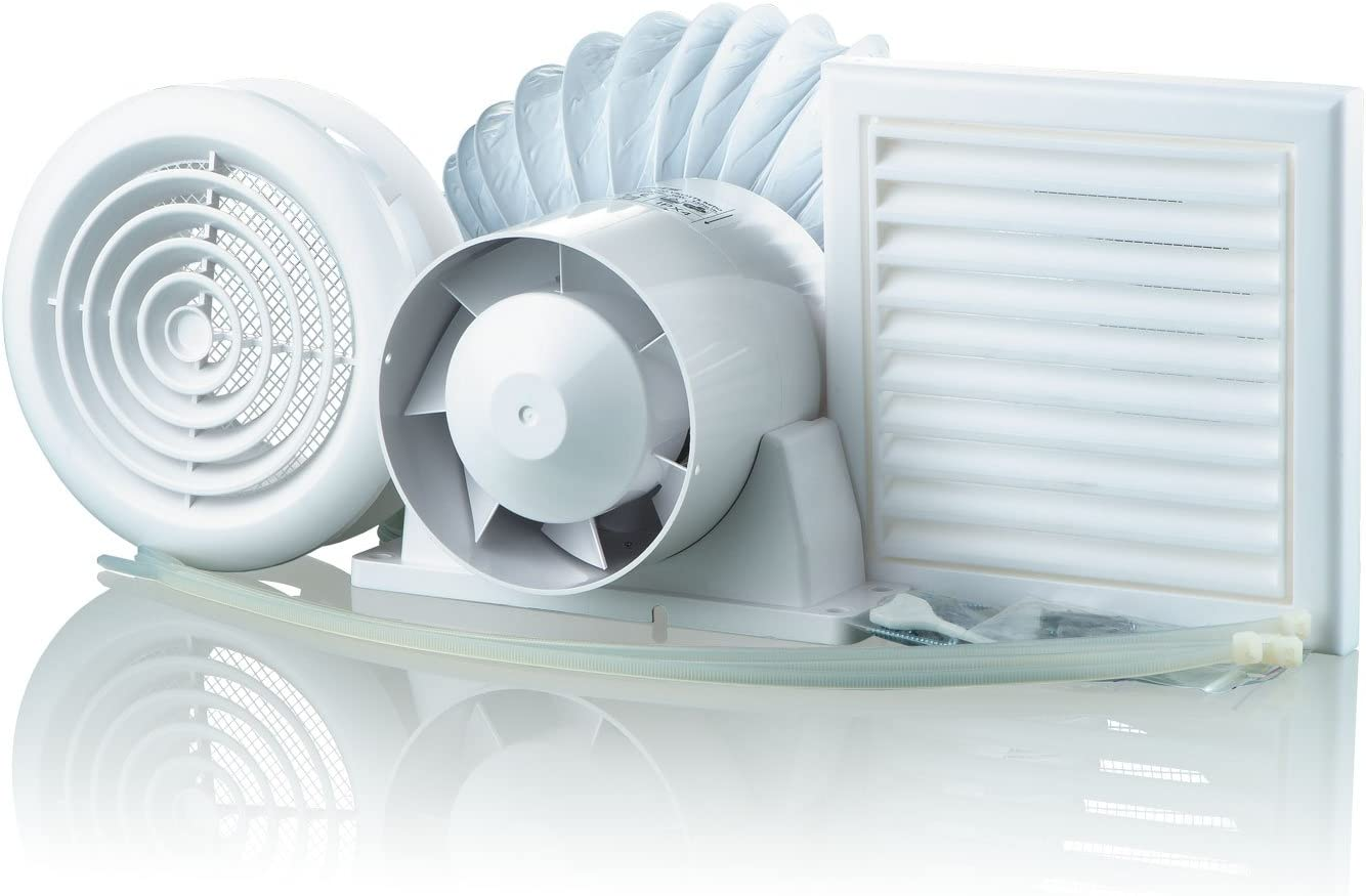 Manrose SF100S In-Line Shower Extractor Fan with Duct /& Grilles Standard Model