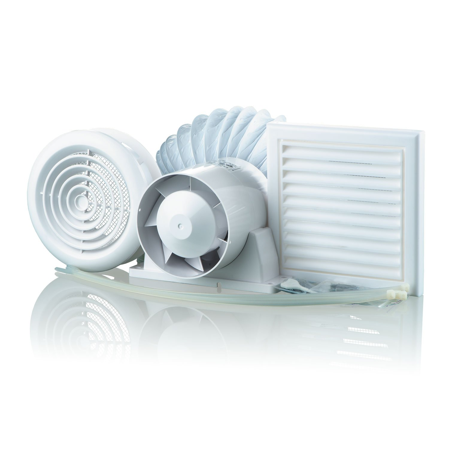 Blauberg UK KIT VKO 100-1 - Kit de ventilació n de aseo con temporizador, 100 mm, color blanco, 8 piezas