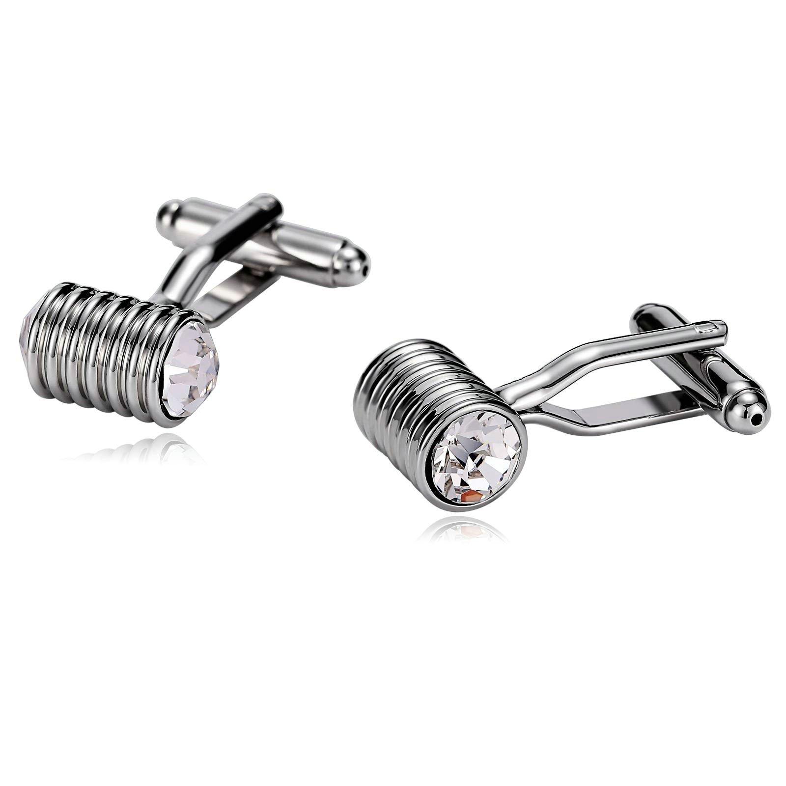 Gnzoe Cufflink Wedding-Men's Stainless Steel Round Striped Cylinder Cuff Links Silver