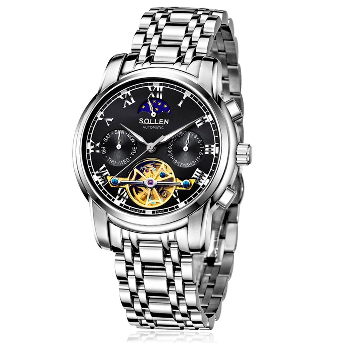 SOLLEN SL-804 Men's Flywheel Automatic Water Resistant Business Wrist Watch with Luminous Hands (Black) by SOLLEN