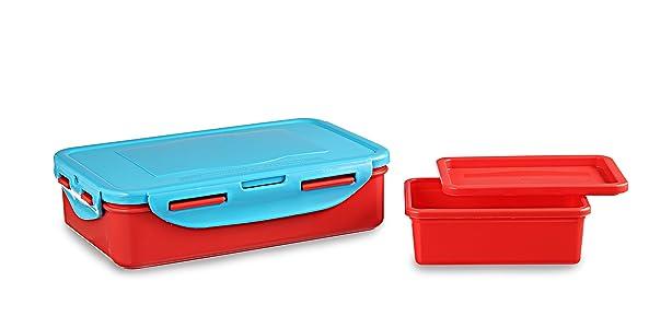 All Time Plastics Smart Lunch Set, 800ml & 200ml, Set of 2, Multicolour