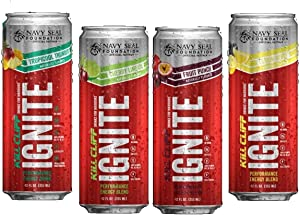 Kill Cliff Ignite | Healthy Energy Drink, Natural Caffeine, Electrolytes, Keto Friendly (12 Pack, 3 of Each: Fruit Punch, Cherry Limeade, Lemon Berry, and Tropicool Thunder)