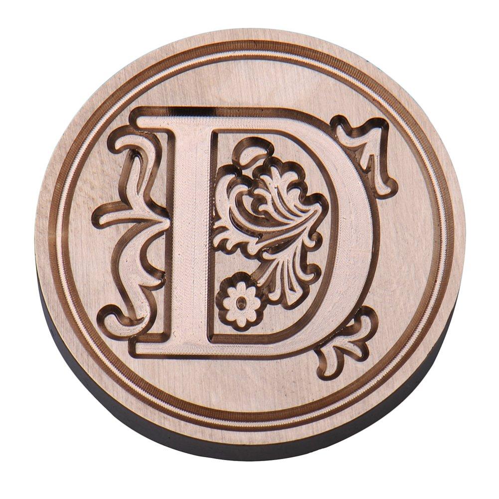 Sigillo per ceralacca con manico in palissandro e lettere dell/'alfabeto timbro in ottone stile: vintage Type M Ming