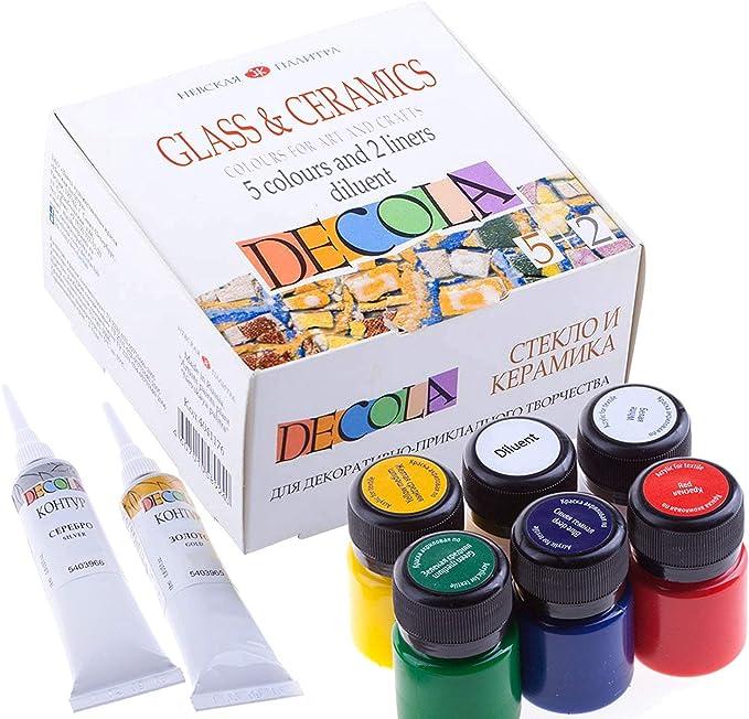 Decola Set Pinturas Acrilicas manualidades | 5x20ml +2+1 Pintura Para Ceramica Y Vidrio | Alta Cobertura También Sobre Superficies Obscuras | Hechas Por Neva Palette: Amazon.es: Juguetes y juegos