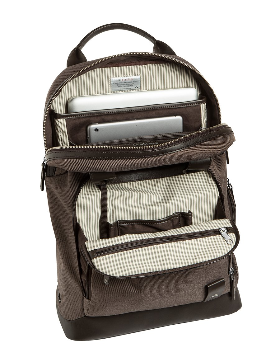 Brenthaven Medina 15.4-Inch Laptop Backpack | Polyester & Leather, Zippered Pockets, Tuck Away Straps | Fits 15.4 Inch Laptop, Chromebook, Macbook, Microsoft Surface by Brenthaven (Image #1)